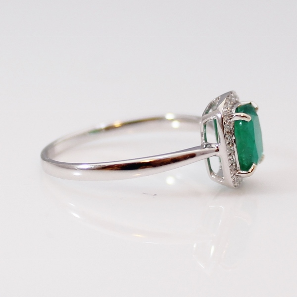SOLD Colombian Emerald Ring and Diamond 18 k white Gold Ring