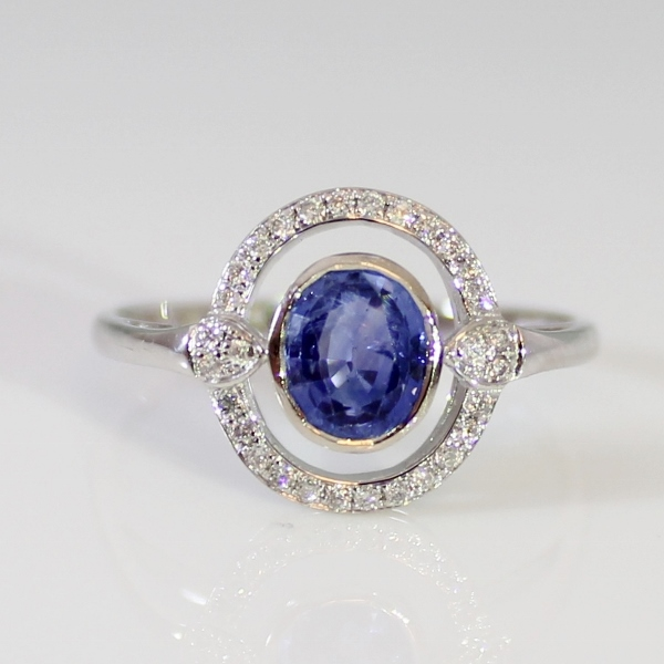 Blue Sapphire and Diamond 18 k White Gold Ring