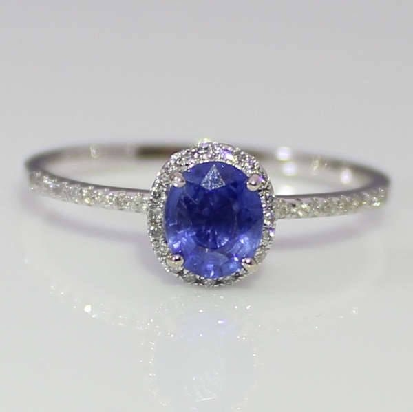 Blue Sapphire and  40 Diamonds 18 k White Gold Ring