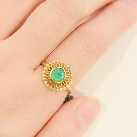 Natural Colombian Emerald Open Diamond Halo Ring 18K Gold