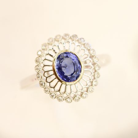 Sapphire and Open Diamond Halo Ring 18K Gold