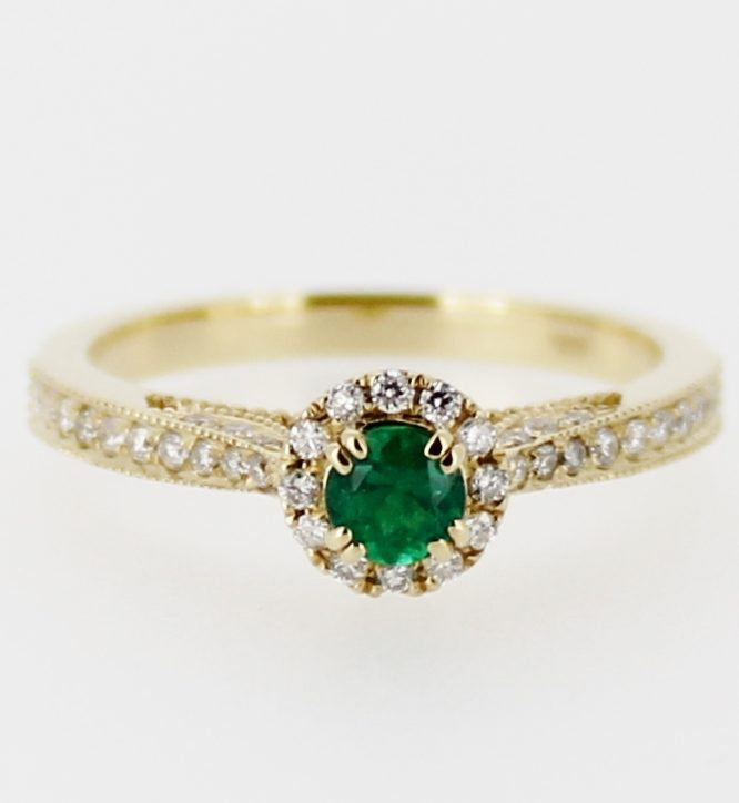 SOLD 18ct Yellow Gold Colombian Emerald and 44 Diamonds Ring