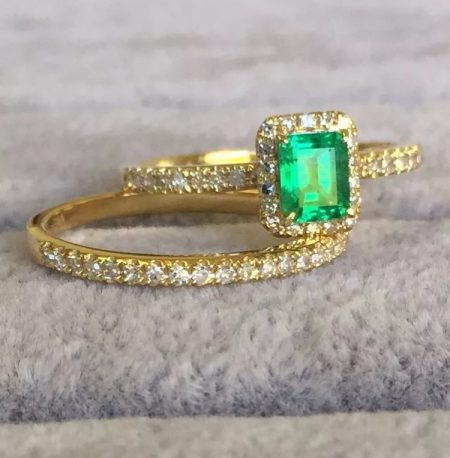 """SOLD"" made to order Ring Set 18K Yellow  Gold Engagement Rings Unique Colombian Emerald Ring with Matching Band"