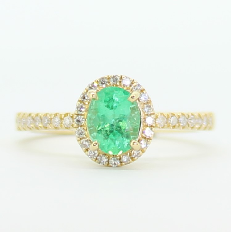 18 k yellow gold Colombian emerald diamond ring certified NCJV FGAA