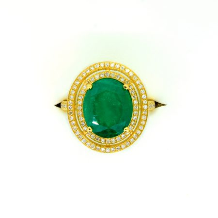 4.54ct Colombian Emerald and Diamond Double Halo Ring in 18k Yellow Gold