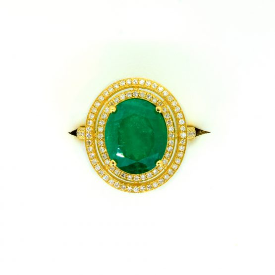 4.54ct Colombian Emerald and Diamond Double Halo Ring in 18k Yellow Gold - 198223