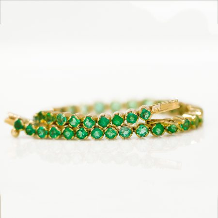 6.82ct Colombian Emerald Tennis Bracelet in 18kt Yellow Gold