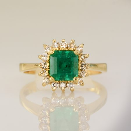 Colombian Emerald and Diamond Halo Ring Emerald Cut 18k Gold
