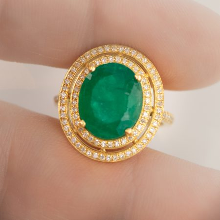 4.54ct Colombian Emerald Diamond 18k White Gold Double Halo Ring