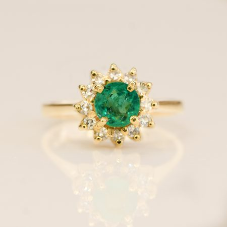 Natural Colombian Emerald Flower Style Halo Ring 18K Yellow Gold