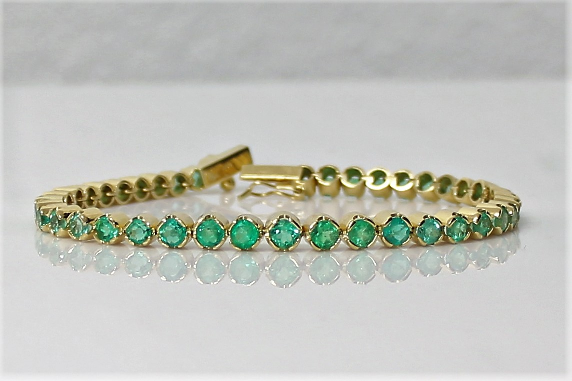 Emerald Tennis Bracelet 18k Yellow Gold 39 Colombian Emeralds