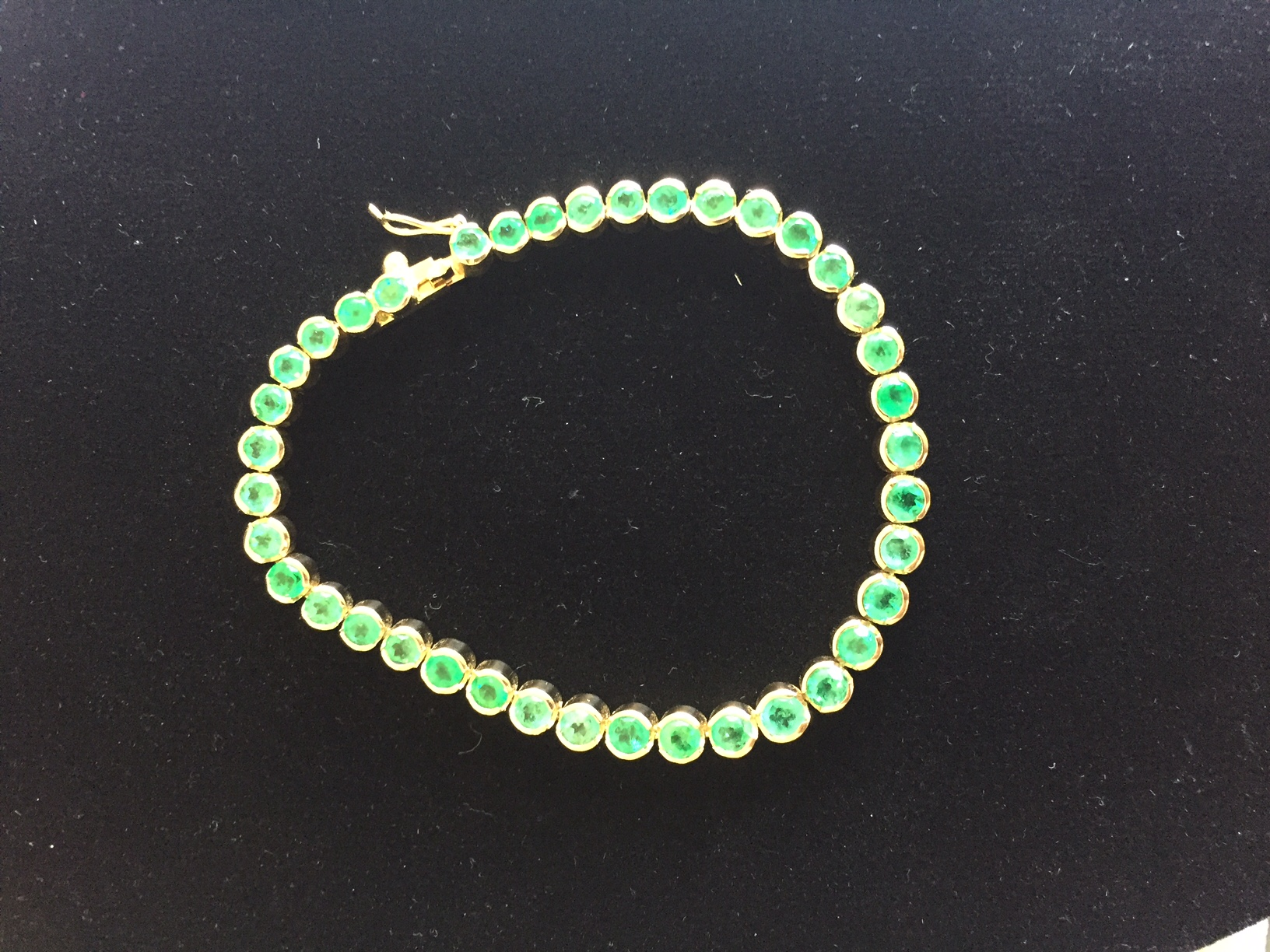 Emerald Tennis Bracelet 18k Yellow Gold 39 Colombian Emeralds