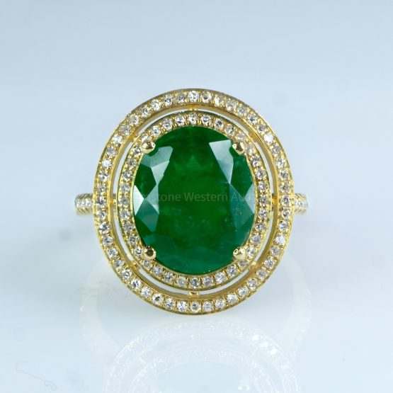 4.54ct Colombian Emerald and Diamond 18k Yellow Gold Double Halo Ring - 198223 -10