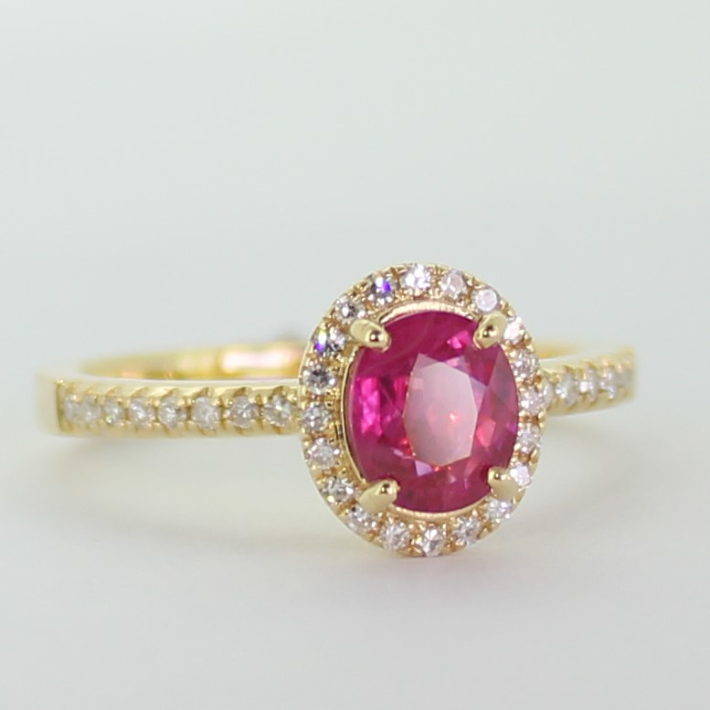 Ruby Ring 18K Yellow Gold Ruby and 36 diamonds Ring. certified NCJV-FGAA