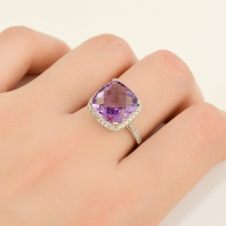 Amethyst Diamond Ring 18k White Gold Cushion  Shape