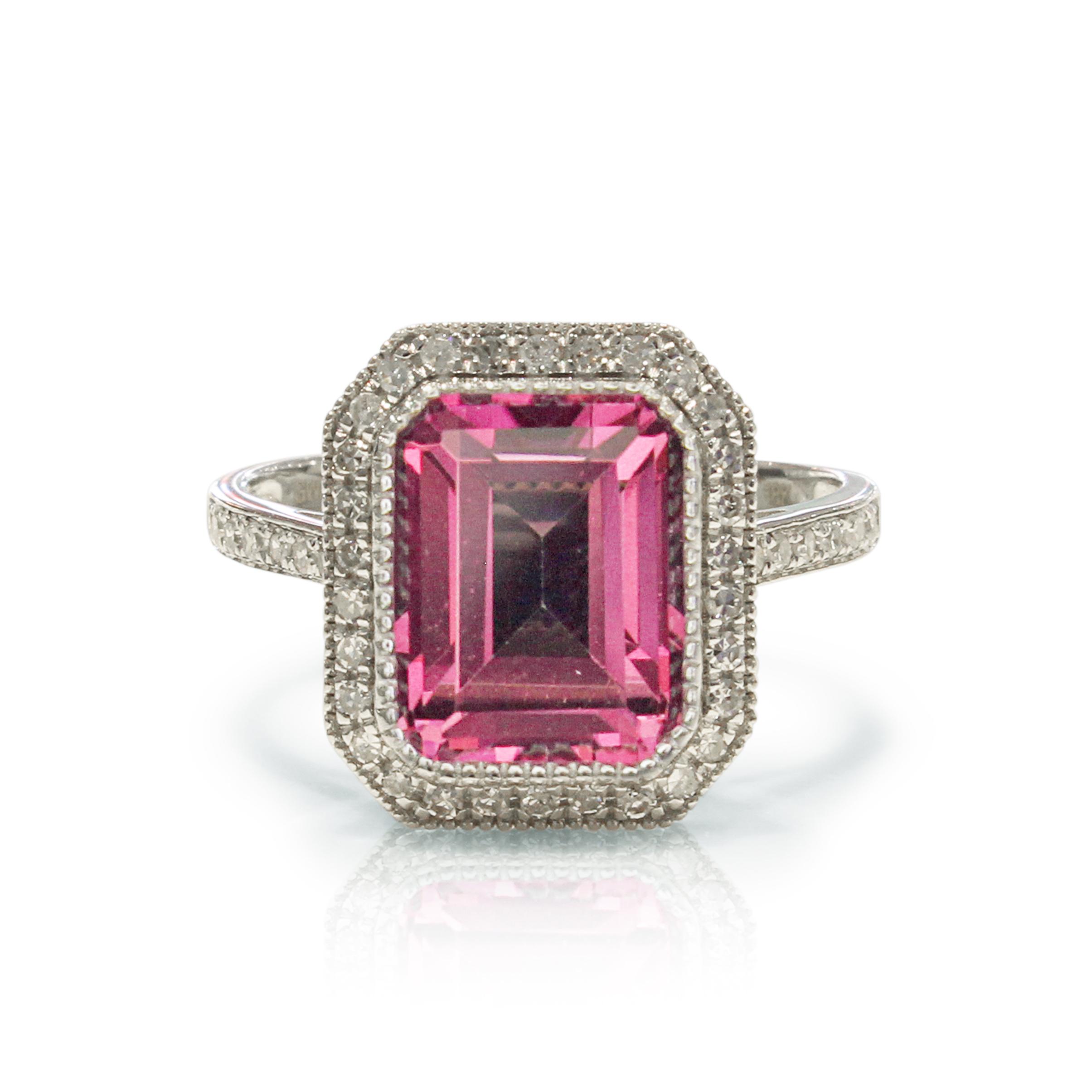 Pink Topaz Diamond Ring 18k White Gold Emerald  Shape