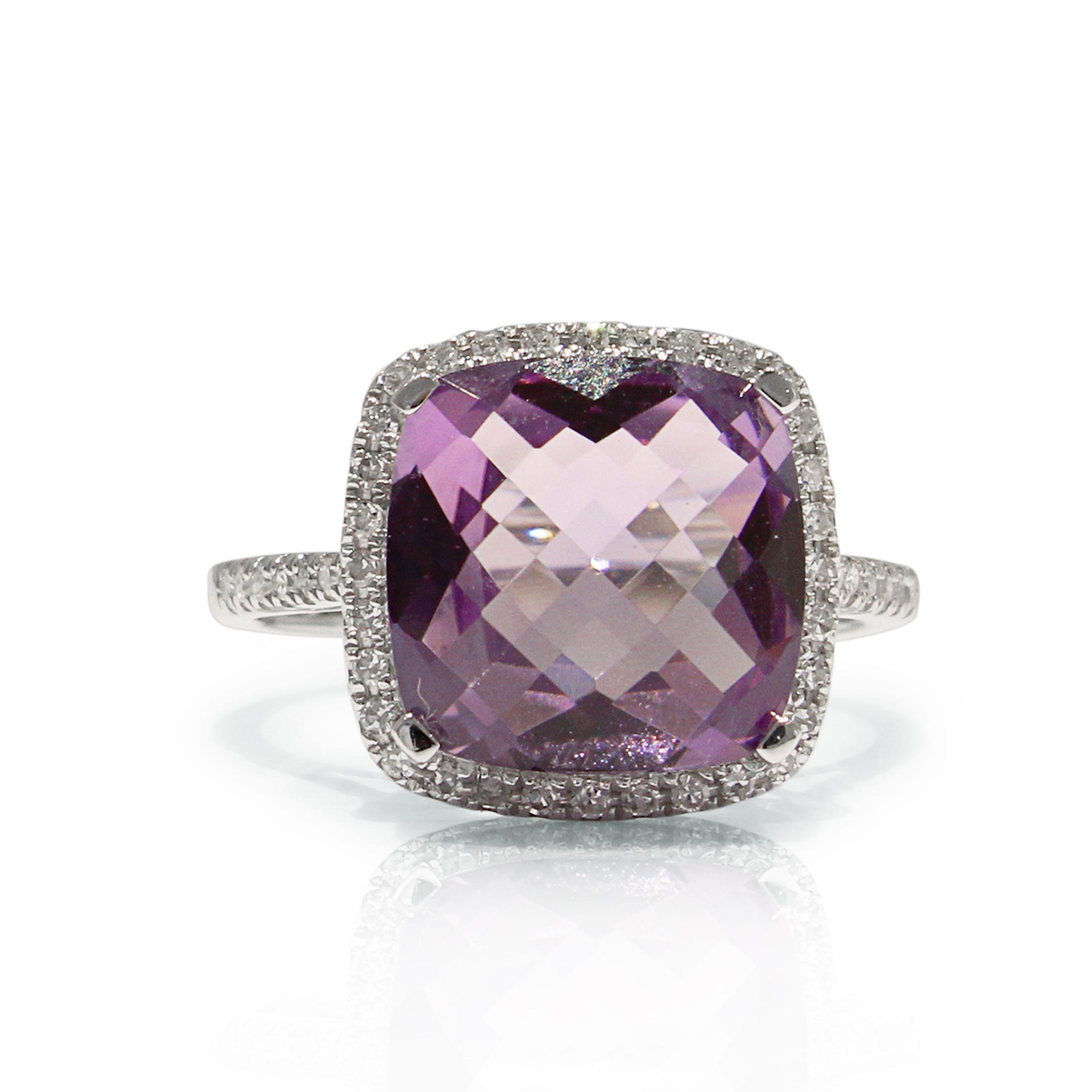 Amethyst Diamond Ring 18k White Gold Cushion  Shape
