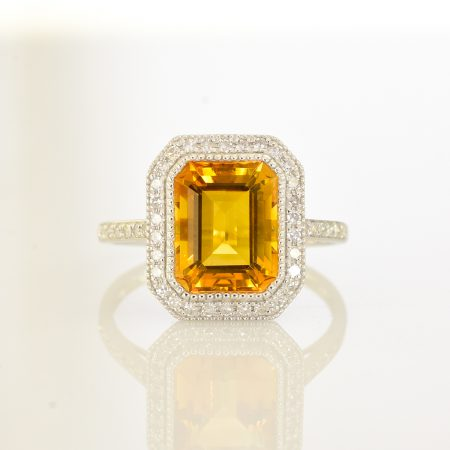Citrine and Diamond Halo Ring 18K Gold