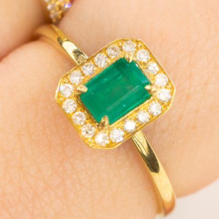 Colombian Emerald and Diamond Halo Ring 18K Gold