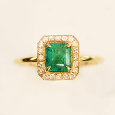 Colombian Emerald Halo Ring 18K Gold