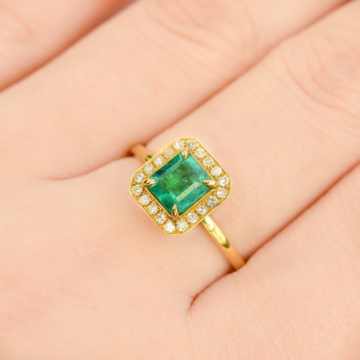 Colombian Emerald Diamond Halo Ring - 198202-3