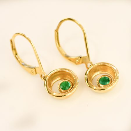 Colombian Emerald Dangle Earrings 18K Yellow Gold