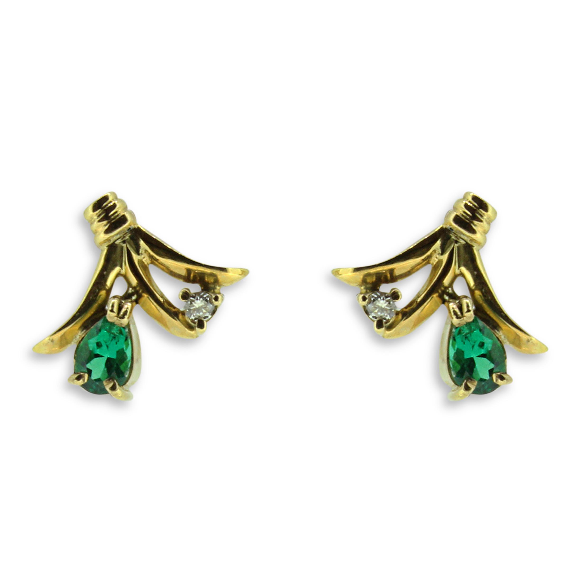 Pear Emerald Diamond Earrings 18k Gold