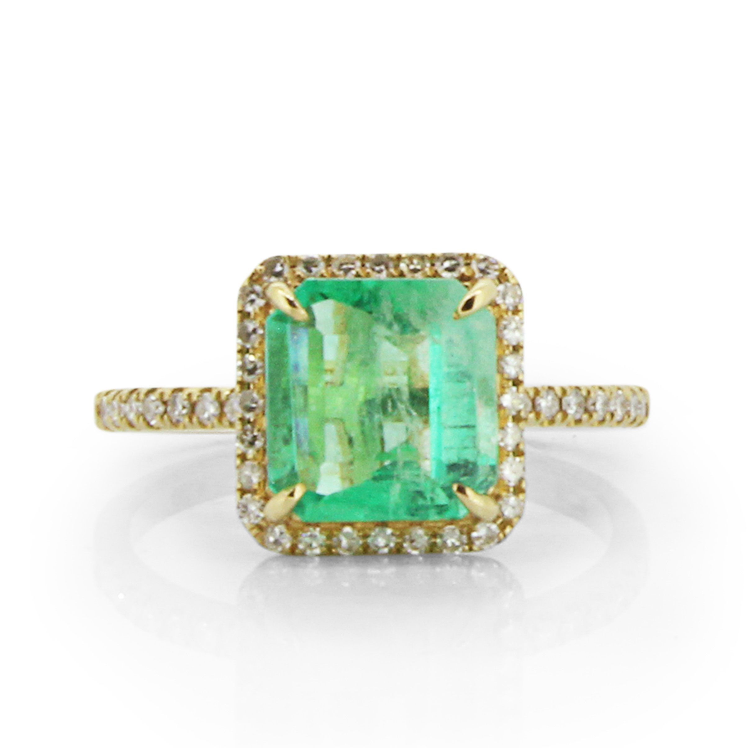 wedding halo pave ring diamond emerald engagement design cut o sides