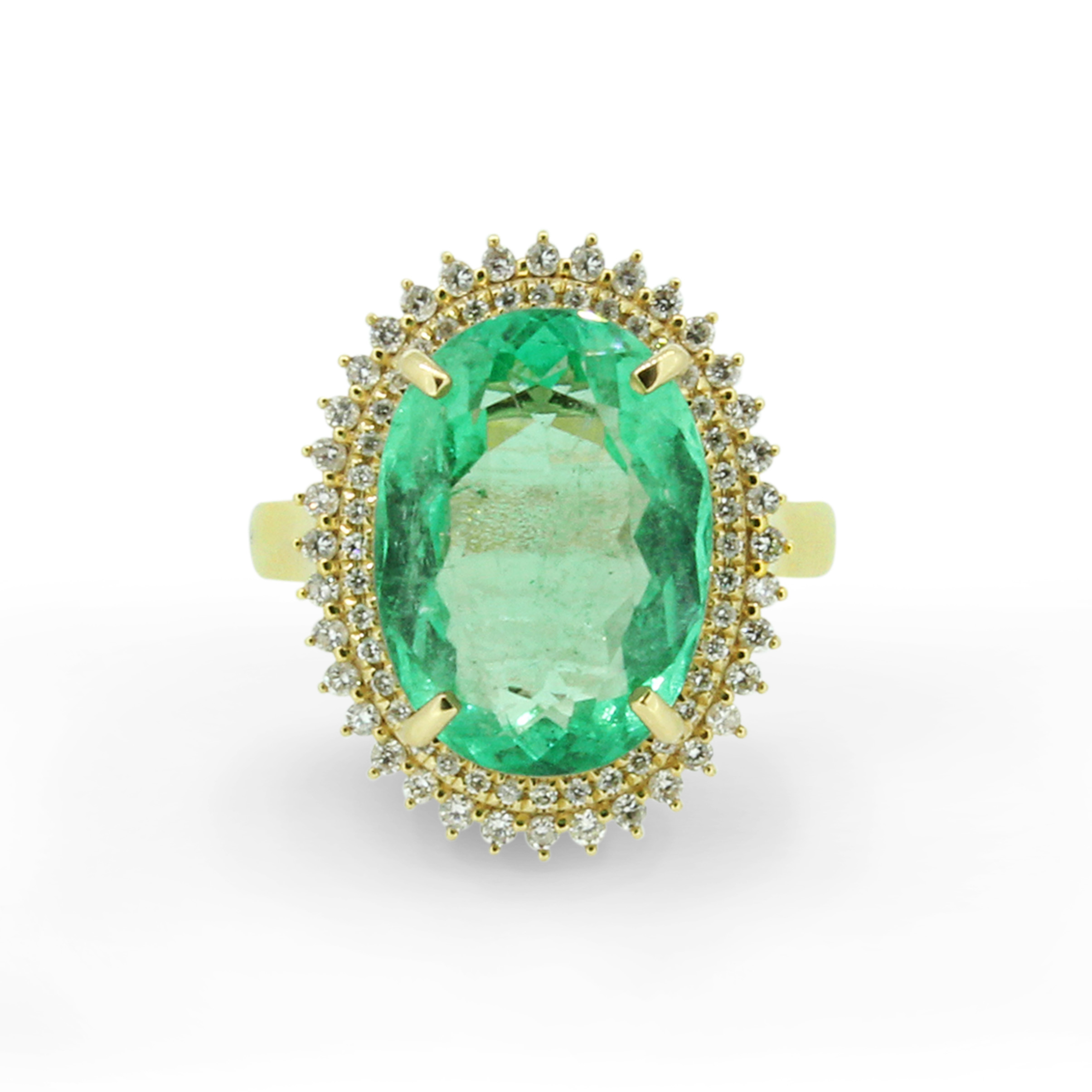 18K Yellow Gold Colombian Emerald  Diamond Ring