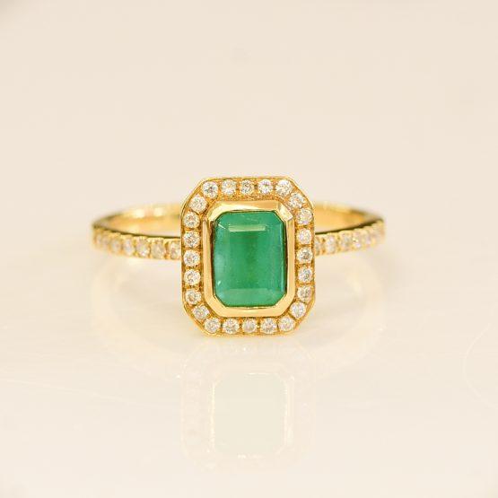 Colombian Emerald Diamond Halo Ring - 198203-3