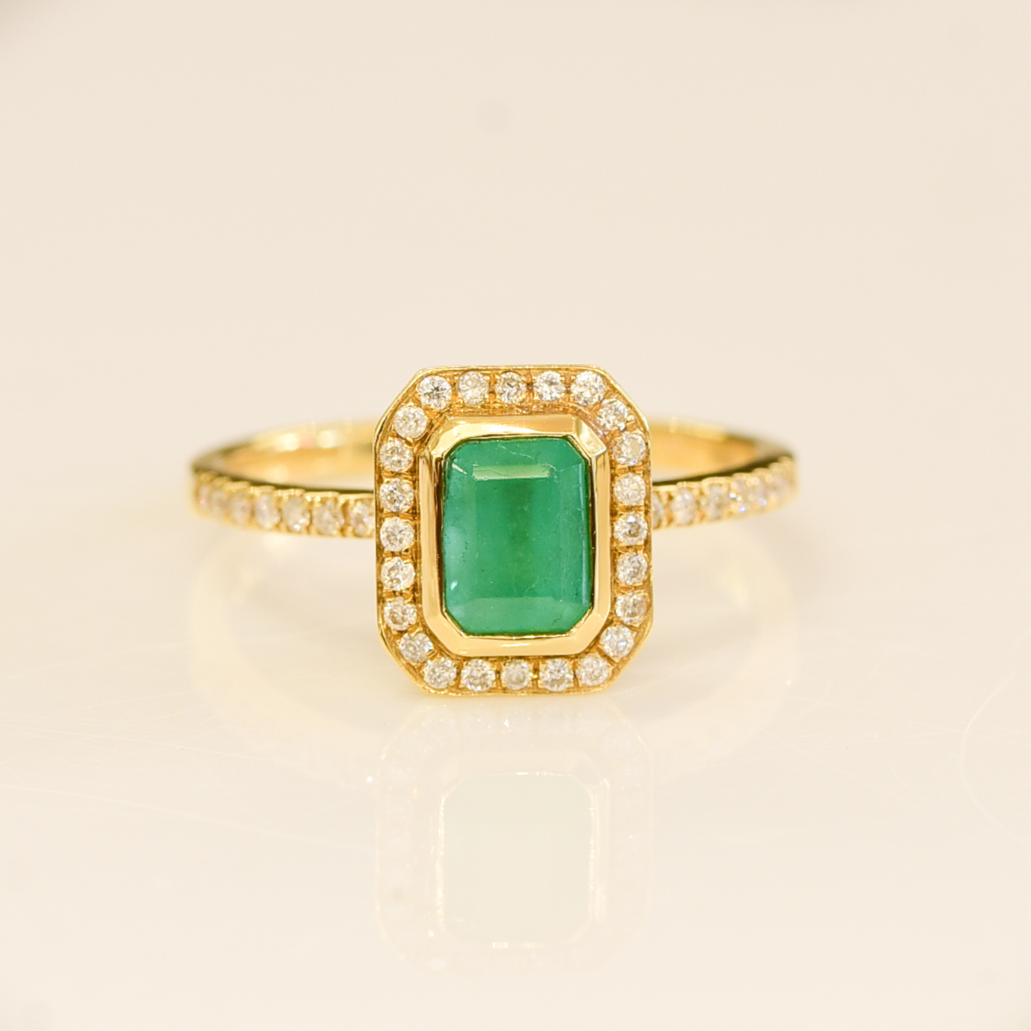 Colombian Emerald Diamond Halo Ring - 198203-3
