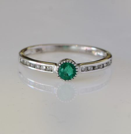 Minimalist Emerald Ring 9k White  Gold