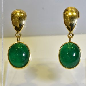 Colombian Emerald Earrings  Oval Cabochon 8.9 Carats