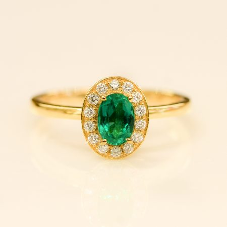 Colombian Emerald and Diamond Halo Engagement Ring 18K