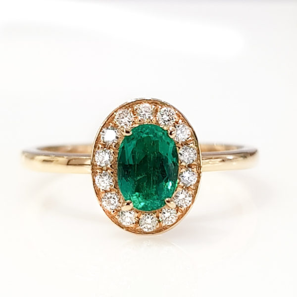 0.56 ct Oval Emerald Diamond Ring