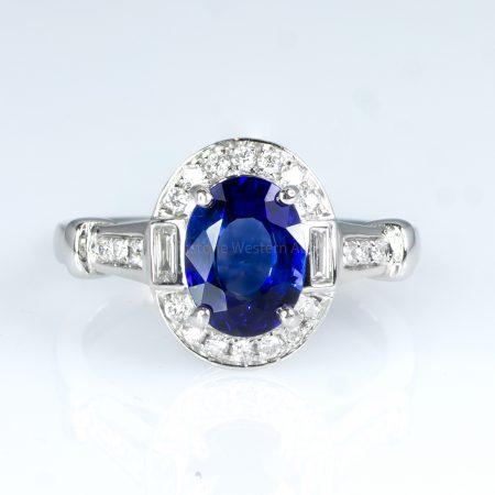 Art Deco sapphire and Diamonds Ring 18K Gold