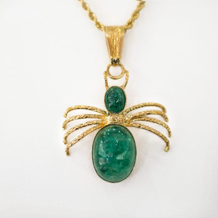 Colombian Emerald and 18K Yellow Gold Emerald Pendant Spider Shape