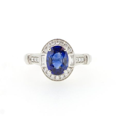 Art Deco sapphire and Diamonds Ring 18K Gold