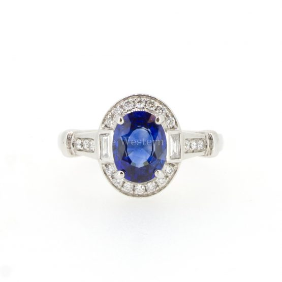 Art Deco Natural Blue Sapphire and Diamond Ring in 18K White Gold