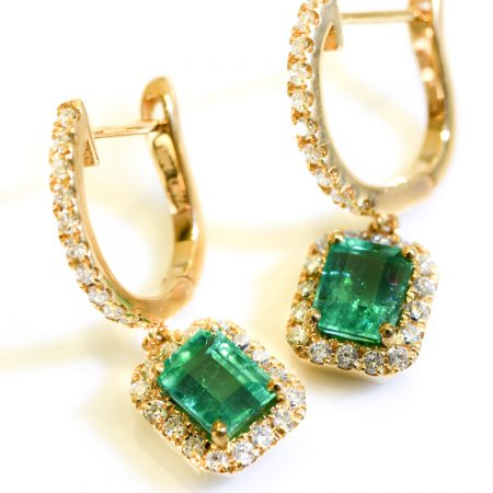 2.18TCW Colombian Emerald  Halo Drop and Dangle Earrings in 18K Gold