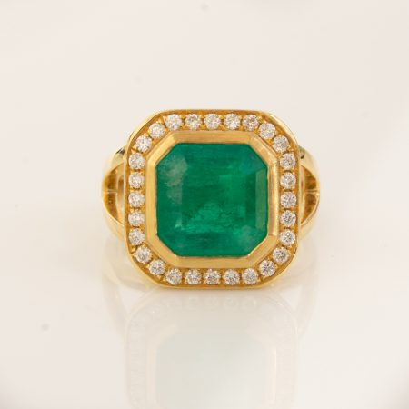 4.82ct Colombian Emerald and Diamonds Halo Ring 18K Gold
