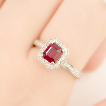 1.55ct Ruby and Diamond Halo Engagement Ring