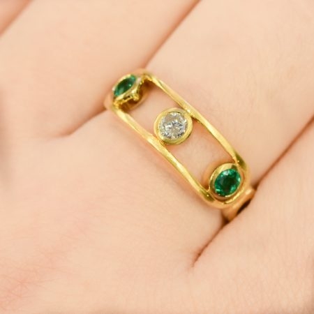 Diamond and Colombian Emeralds Dress Ring 18K Yellow Gold