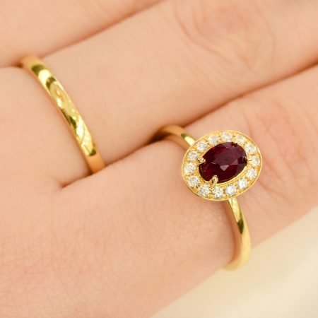 Natural Unheated Ruby Diamonds Ring and Wedding Band 18K Gold