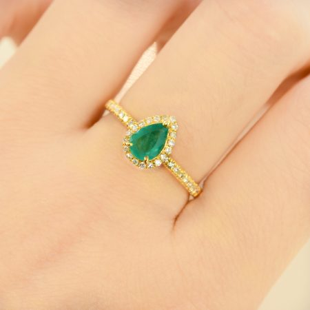 Pear Cut Natural Colombian Emerald Halo Ring 18K Yellow Gold