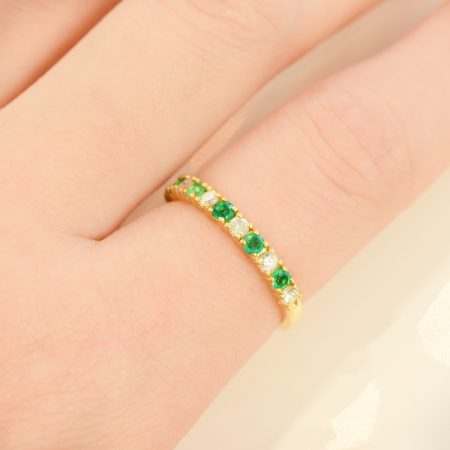 Colombian Emeralds and Diamonds Half Eternity Band 18K Gold