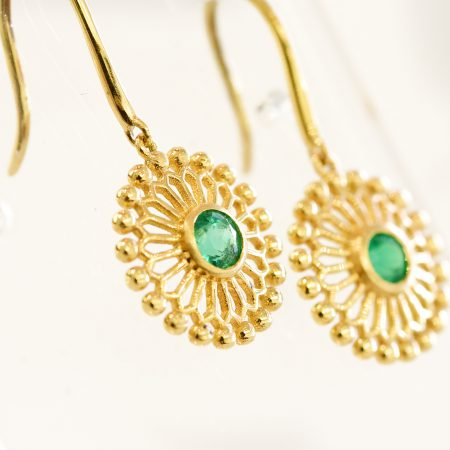 Natural Colombian Emeralds Dangling Earrings 18K Yellow Gold