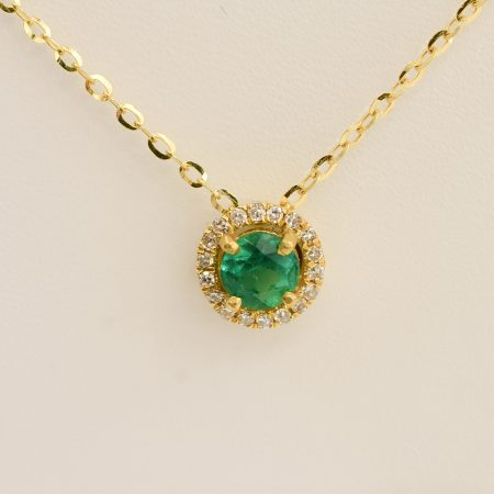 Colombian Emerald Diamond Halo Pendant Necklace 18K Yellow Gold