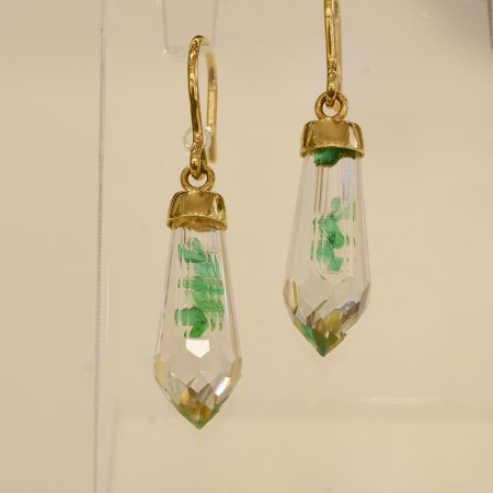 Colombian Emerald Crystal Quartz Earrings in 18K Gold