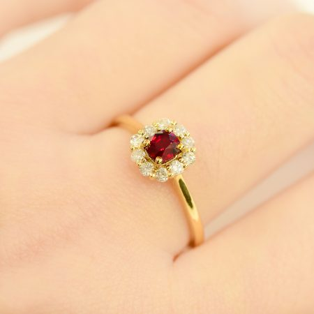Cushion Cut Ruby & Diamond Halo Ring 18K Gold